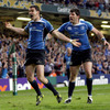 Jonathan Sexton, pictured alongside Shane Horgan, reacts after scoring a much-needed try for Leinster against Northampton