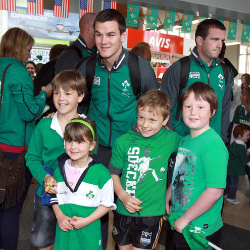Photos of the Ireland players on their arrival in New Plymouth