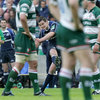 Jonathan Sexton is seen through a forest of Leicester players as he kicks Leinster's match-winning penalty