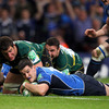Jamie Heaslip linked with Jonathan Sexton to create Leinster's second try which was converted by the in-form out-half