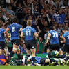 As his team-mates and a small chunk of the Leinster support look on, Jonathan Sexton is shown scoring his second try