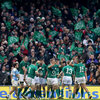 The Ireland players acclaim the efforts of Jonathan Sexton who finished the Test with a best ever personal haul of 19 points