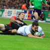 Jonathan Sexton slides over to score his second try in 15 Heineken Cup games