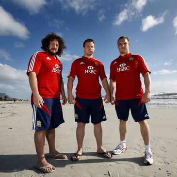 The Lions front row of Adam Jones, Matthew Rees and Gethin Jenkins