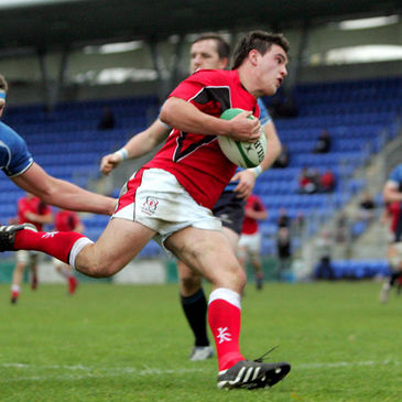 Jonny Shiels runs in a try for the Ulster Ravens