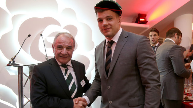 Jordi Murphy receives his first cap from IRFU President Pat Fitzgerald
