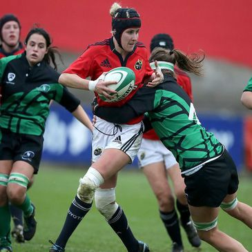 Munster number 8 Joy Neville is tackled by Connacht's Heather Cary