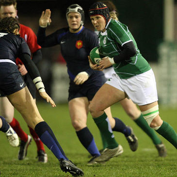Ireland captain Joy Neville charges forward against France