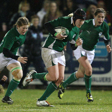 Joy Neville on the attack for Ireland