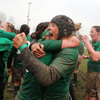Lynne Cantwell and Joy Neville hug after the Ireland Women made history by claiming a first ever Grand Slam