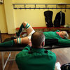 Number 8 Joy Neville, one of the most experienced members of the Ireland squad, receives a massage before kick-off in Milan