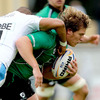 South African prop Dylan Rogers makes the hard yards for Connacht, under pressure from Exeter's Junior Poluleuligaga