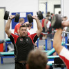 Former Ireland prop Justin Fitzpatrick works out during a busy gym session