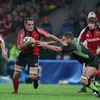 Munster number 8 Justin Melck breaks forward during his Heineken Cup debut