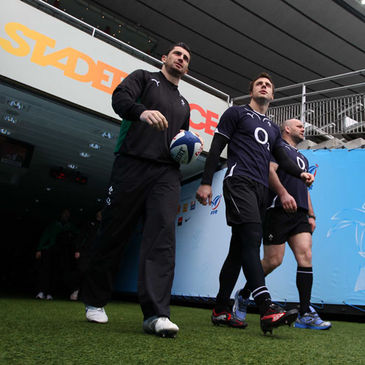 Rob Kearney, Tommy Bowe and John Hayes at the Stade de France