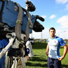 Full-back Rob Kearney waits for the cue as he takes part in a television interview