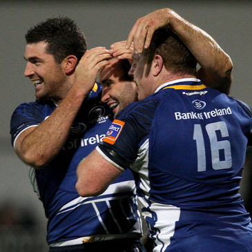 David Kearney is congratulated after scoring a try for Leinster