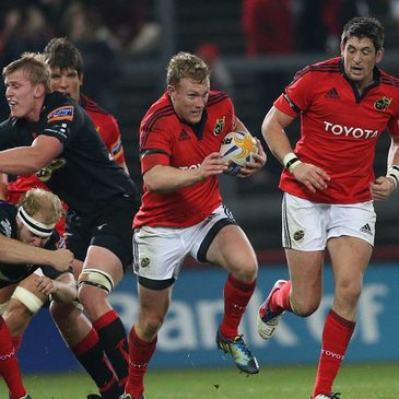 Keith Earls in action against the Dragons