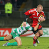 Keith Earls, who recently made his return from groin and ankle injuries, tries to shake off a tackle from Treviso's Ezio Galon