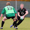 Keith Earls carries the ball forward as the Ireland players go through their paces ahead of the GUINNESS Series opener
