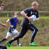 Keith Earls charges forward with ball in hand during today's training session in New Plymouth. Earls will start on the left wing against the USA