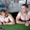 Keith Earls and Jamie Heaslip have a laugh together as they spend some time in an ice bath after training