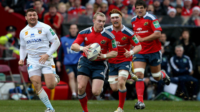 Keith Earls makes a break for Munster