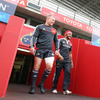 Centres Keith Earls and Sam Tuitupou make their way out onto the Thomond Park pitch