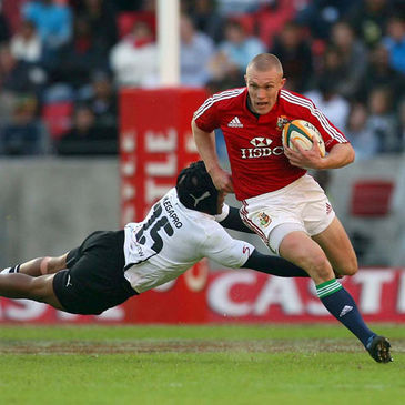 Lions full-back Keith Earls tries to get past his opposite number