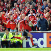 The Munster fans raise the roof as Keith Earls thunders down the left wing on the way to scoring