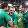 Conor Murray and Cian Healy celebrate with two-try hero Keith Earls, who has now scored 10 tries in 25 Tests for Ireland