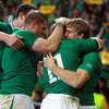 Andrew Trimble, Jamie Heaslip and Donnacha Ryan are pictured celebrating with birthday boy Keith Earls, who has now scored four tries in his last two World Cup games