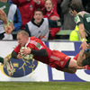 Keith Earls dives over to score in the 73rd minute, taking his Heineken Cup record to seven tries in 22 games