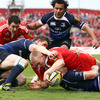 Keith Earls' try in the left corner helped Munster retake the lead at 12-9. Ronan O'Gara missed the conversion
