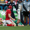 Wales' Mike Phillips and Alun Wyn Jones were unable to prevent Keith Earls from scoring his fifth try in three World Cup games