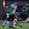 Connacht centre Keith Matthews is tackled by Bayonne captain Julien Puricelli, who played four times for France in 2009