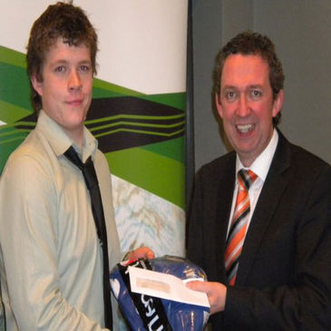 Kevin Durran receiving his rugby scholarship