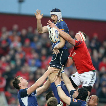 Kevin McLaughlin wins a lineout for Leinster