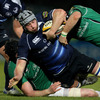 Connacht's Andrew Browne and Johnny O'Connor double up on Leinster flanker Kevin McLaughlin, whose most recent outing for the province was in last May's grand final