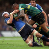 Leinster's Kevin McLaughlin is brought to ground by Northampton's Courtney Lawes as the sides clash in Cardiff