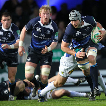 Kevin McLaughlin takes the ball on for Leinster