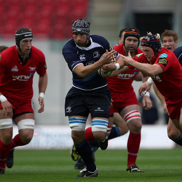 Kevin McLaughlin on the charge for Leinster against the Scarlets