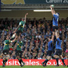 Flanker Kevin McLaughlin is well-supported by front rowers Cian Healy and Mike Ross as Leinster win their own lineout ball