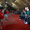 The shoeless Brian O'Driscoll and Paul O'Connell took some photos and footage of the haka performed by the local school children