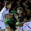 Kieran Marmion, a newcomer to RaboDirect PRO12 rugby this season, tries to find a way past Ian Madigan and Heinke van der Merwe