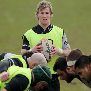 Kieran Marmion waits to feed the ball into a scrum