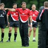 Kieron Dawson points the way for Ulster during one of their last training session before the new season's kick-off