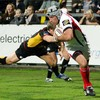 Ulster flanker Kieron Dawson evades a tackle to get over for a try at Ravenhill