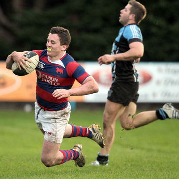 Clontarf centre Killian Lett scores a try against Shannon
