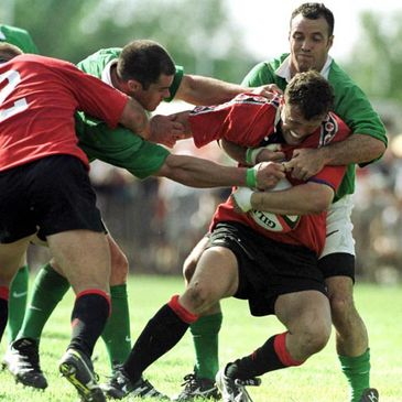 Kyle Nichols on the attack for Canada against Ireland in 2000